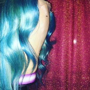 Aqua blue lace wig